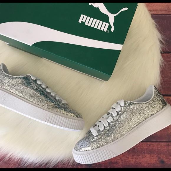Puma Basket Platform Glitter Sneakers Size 10 New 94d0096ae
